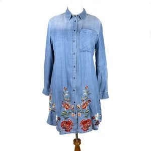 Driftwood Embroidered Chambray Tunic